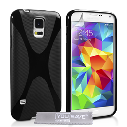 Yousave Accessories Samsung Galaxy S5 Silicone Gel X-Line Case - Black