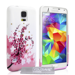 Yousave Accessories Samsung Galaxy S5 Floral Bee Silicone Gel Case