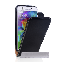 Yousave Accessories Samsung Galaxy S5 Real Leather Flip- Black