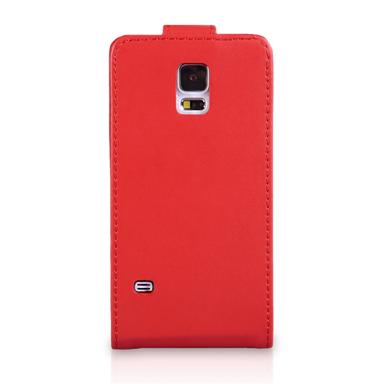Yousave Accessories Samsung Galaxy S5 Leather-Effect Flip Case - Red