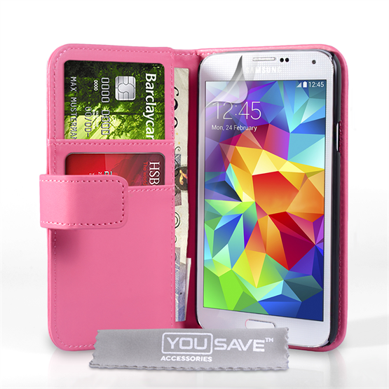 Yousave Accessories Samsung Galaxy S5 Leather-Effect Wallet Case - Hot Pink