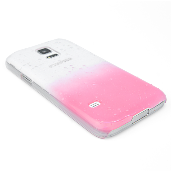 Yousave Accessories Samsung Galaxy S5 Mini Raindrop Hard Case - Baby Pink-Clear