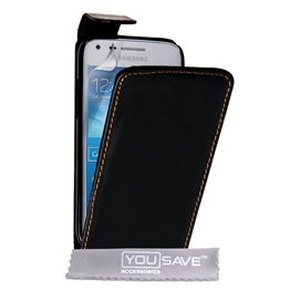 Yousave Accessories Samsung Galaxy Core Plus Leather-Effect Flip Case - Black