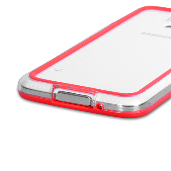 Yousave Accessories Samsung Galaxy S5 Bumper Case - Clear/Red