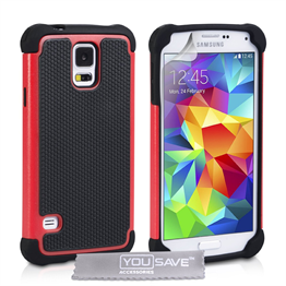 Yousave Accessories Samsung Galaxy S5 Grip Combo Case - Red