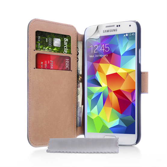 Yousave Accessories Samsung Galaxy S5 Real Leather Wallet Black Case