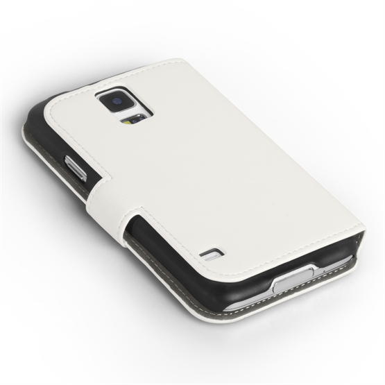 Yousave Accessories Samsung Galaxy S5 PU Leather Stand View Case - White
