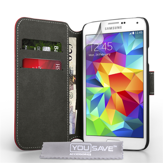 Yousave Accessories Samsung Galaxy S5 Pu Stand Red Case