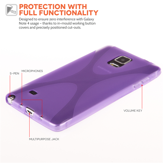 Yousave Accessories Samsung Galaxy Note 4 Silicone Gel X-Line Case - Purple