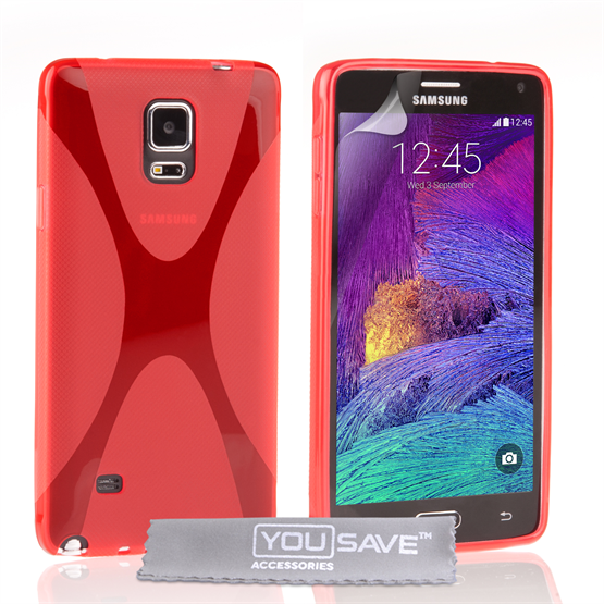 Yousave Accessories Samsung Galaxy Note 4 Silicone Gel X-Line Case - Red