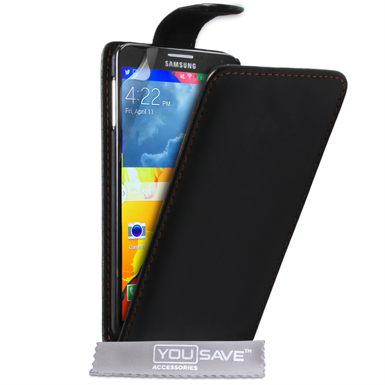 Yousave Accessories Samsung Galaxy Note 4 Leather-Effect Flip Case - Black