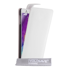 Yousave Accessories Samsung Galaxy Note 4 Leather-Effect Flip Case - White