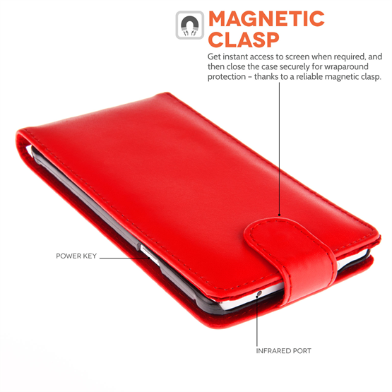 Yousave Accessories Samsung Galaxy Note 4 Leather-Effect Flip Case - Red