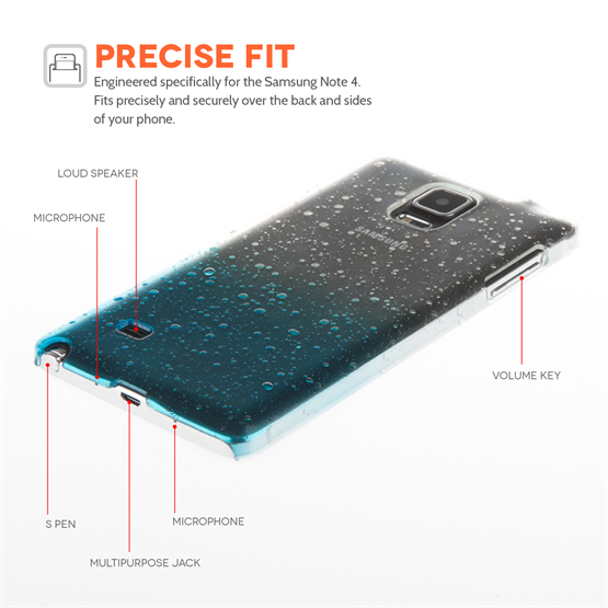 Yousave Accessories Samsung Galaxy Note 4 Raindrop Blue Case