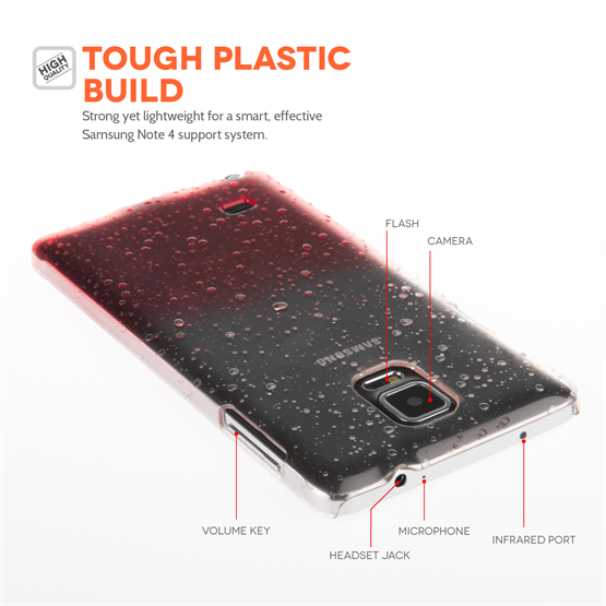 Yousave Accessories Samsung Galaxy Note 4 Red Raindrop