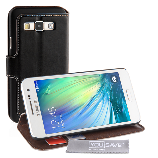 Yousave Accessories Samsung Galaxy A3 Case Black PU Leather Wallet Stand Cover