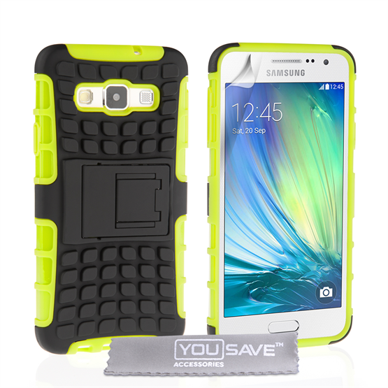 Yousave Accessories Samsung Galaxy A3 Case Green Silicone Combo Stand Cover