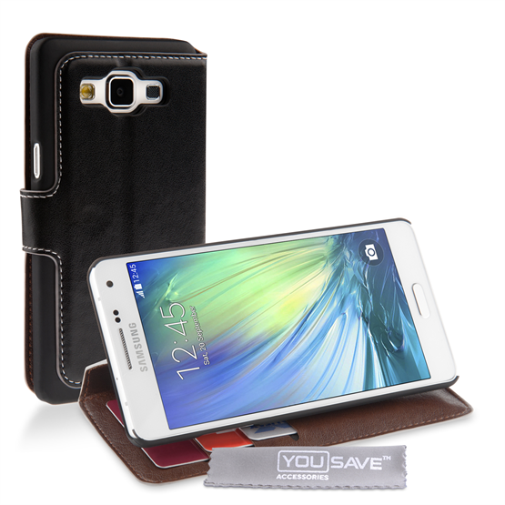 Yousave Accessories Samsung Galaxy A5 Leather-Effect Stand Wallet Case - Black