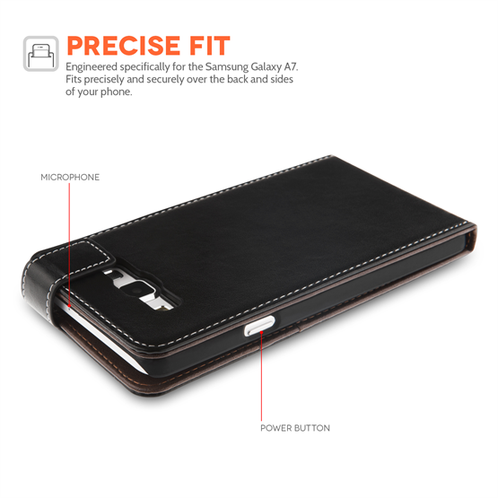 Yousave Accessories Samsung Galaxy A7 Case Black PU Leather Flip Cover With Card Slots