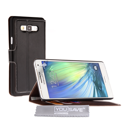 Yousave Accessories Samsung Galaxy A7 Case Black PU Leather Wallet Stand Cover