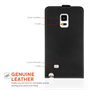 Yousave Accessories Samsung Galaxy Note Edge  Real Leather Flip - Black