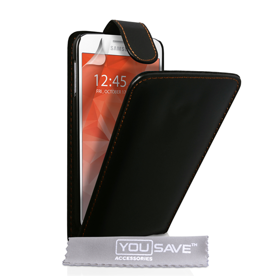 Yousave Accessories Samsung Galaxy S6 Leather-Effect Flip Case - Black
