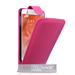 Yousave Accessories Samsung Galaxy S6 Leather-Effect Flip Case - Hot Pink