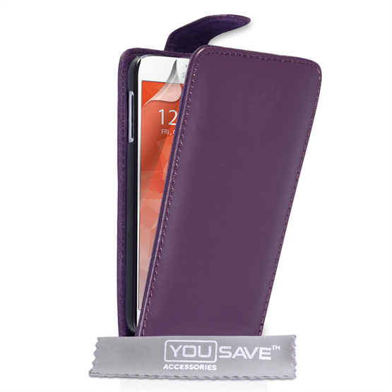 Yousave Accessories Samsung Galaxy S6 Leather-Effect Flip Case - Purple
