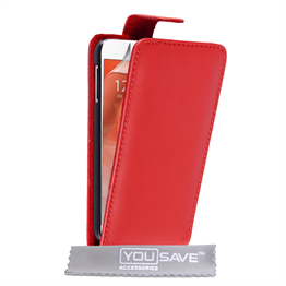Yousave Accessories Samsung Galaxy S6 Leather-Effect Flip Case - Red