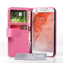 Yousave Accessories Samsung Galaxy S6 Leather-Effect Wallet Case - Hot Pink
