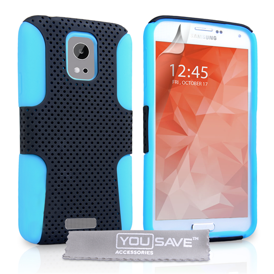 Yousave Accessories Samsung Galaxy S6 Tough Mesh Combo Silicone Case - Blue-Black