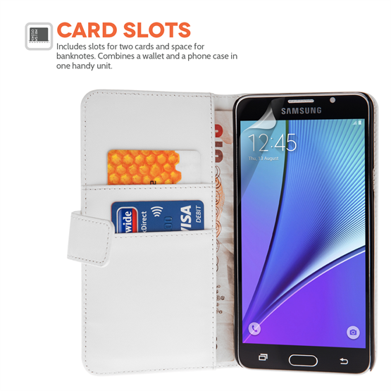 Samsung Galaxy Note 5 Pu Leather Wallet - White