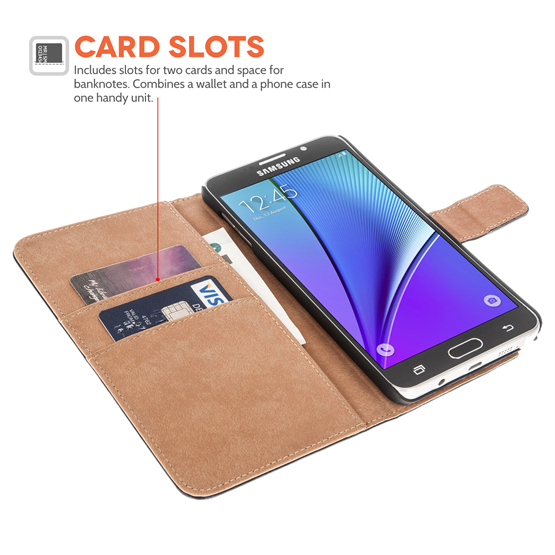 Samsung Galaxy Note 5 Pu Leather Stand Wallet - Black