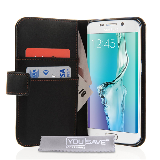 Yousave Accessories Samsung Galaxy S6 Edge Plus Leather-Effect Wallet Case - Black