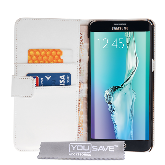 Yousave Accessories Samsung Galaxy S6 Edge Plus Leather-Effect Stand Wallet Case - White