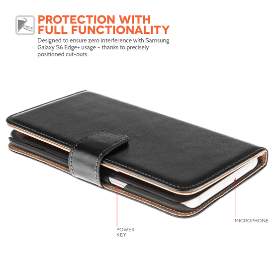 Yousave Accessories Samsung Galaxy S6 Edge Plus Leather-Effect Stand Wallet Case - Black