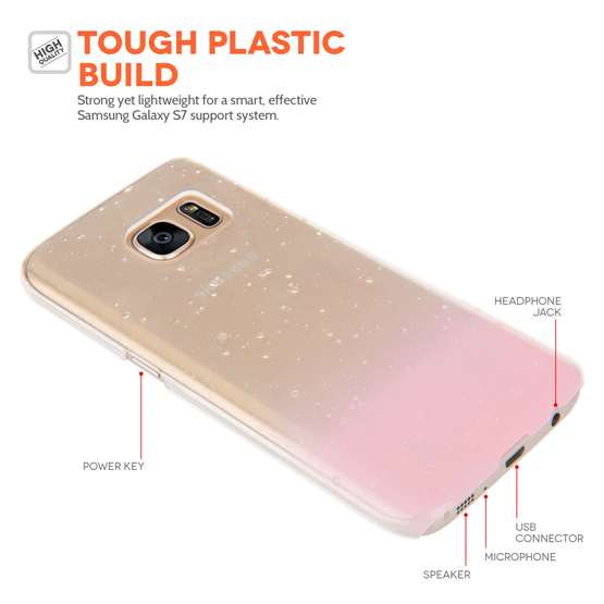 Yousave Accessories Samsung Galaxy S7 Raindrop Hard Case - Baby Pink-Clear