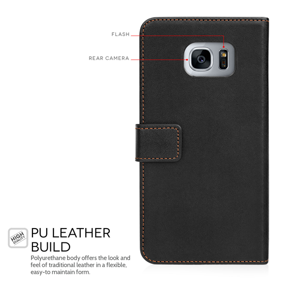 Yousave Accessories Samsung Galaxy S7 Edge Leather-Effect Wallet Case - Black