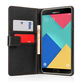 Yousave Accessories Samsung Galaxy A9 Leather-Effect Stand Wallet Case - Black