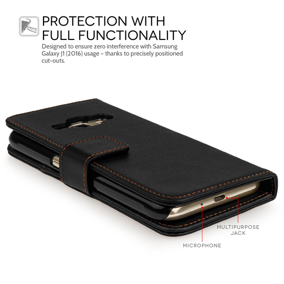 Yousave Accessories Samsung Galaxy J1 (2016) Leather-Effect Wallet Case - Black