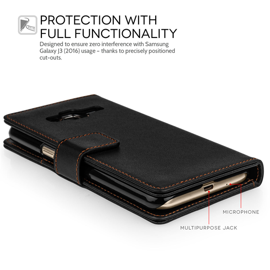 Yousave Accessories Samsung Galaxy J3 Leather-Effect Wallet Case - Black