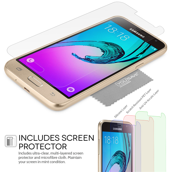 Yousave Accessories Samsung Galaxy J3 Ultra Thin Clear Gel Case