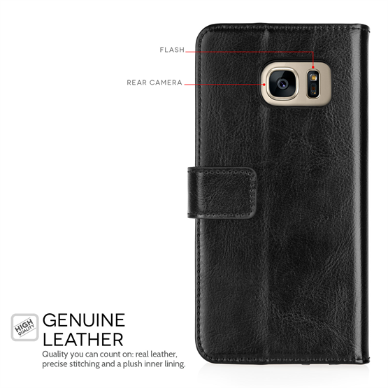 YouSave Accessories Samsung Galaxy S7 Edge Real Leather ID Wallet Case - Black