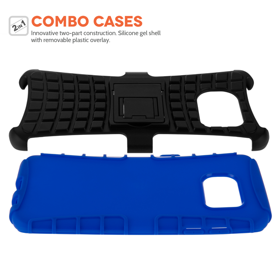 Yousave Accessories Samsung Galaxy S7 Edge Stand Combo Case - Blue / Black