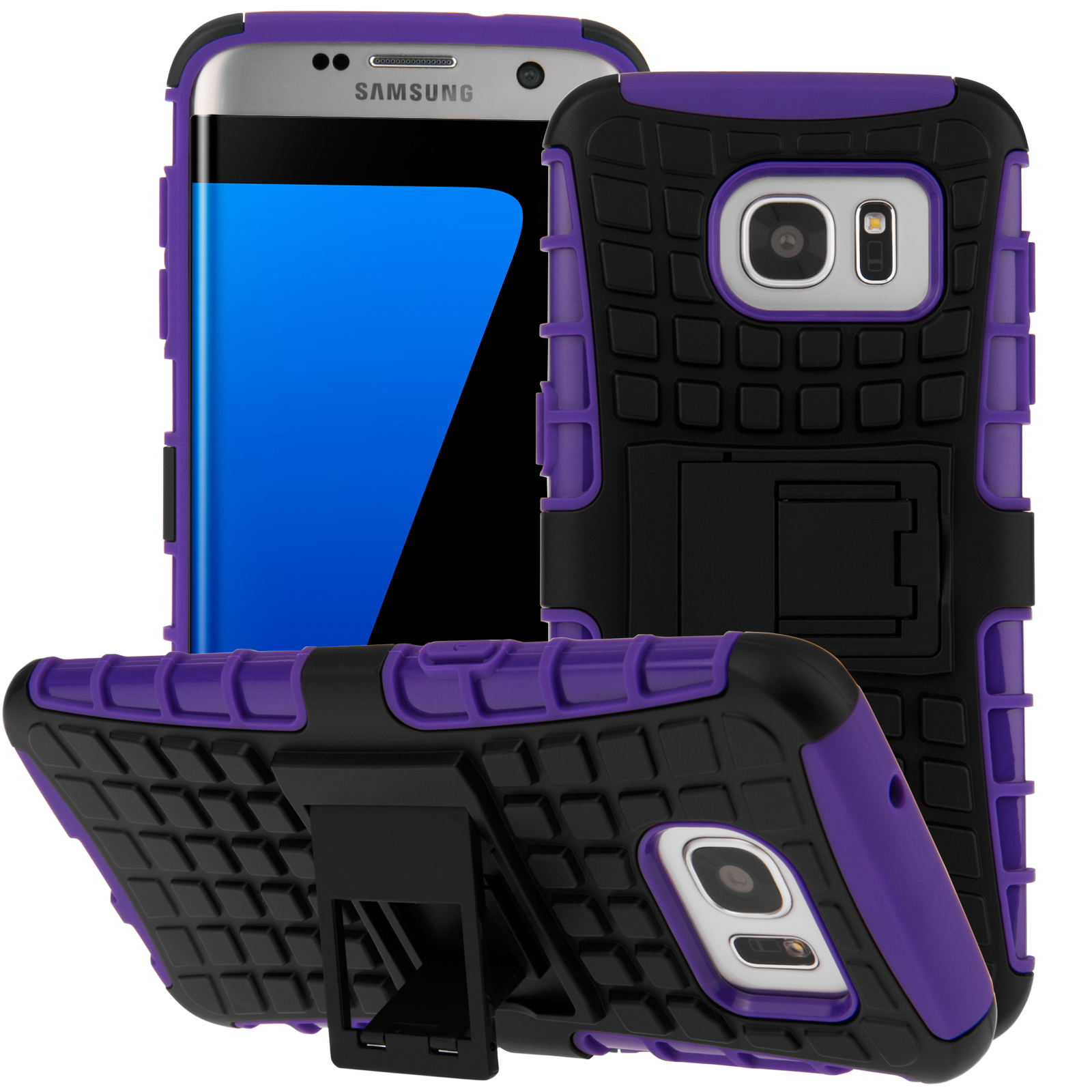 pretty nice 0a29d 7f31b YouSave Accessories Samsung Galaxy S7 Edge Stand Combo Case - Purple