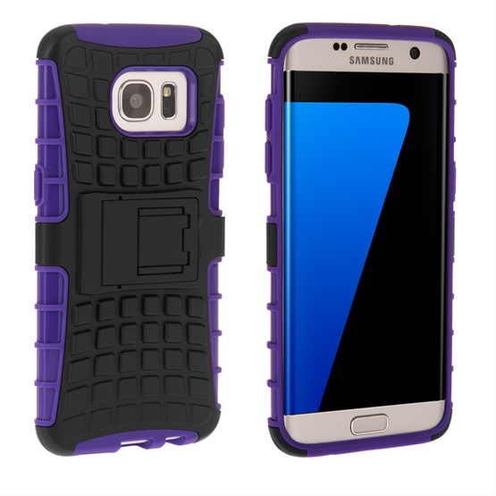 YouSave Accessories Samsung Galaxy S7 Edge Stand Combo Case - Purple