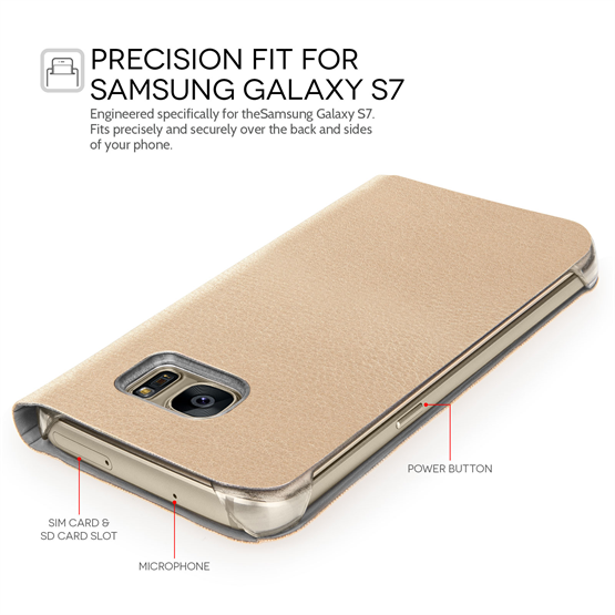 YouSave Accessories Samsung Galaxy S7 Smart Wallet Case - Gold