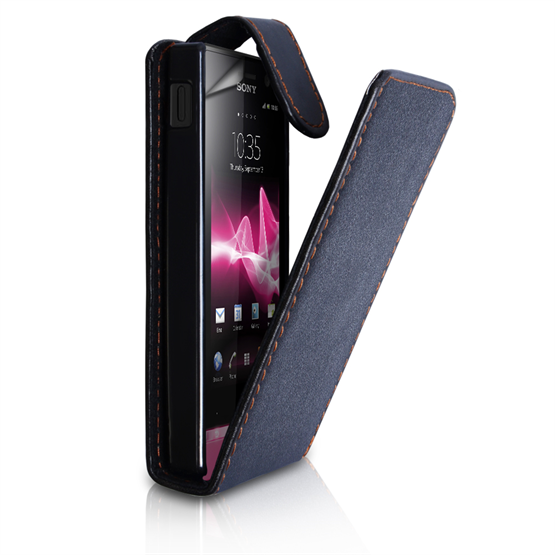 Yousave Accessories Sony Xperia U Flip Pu Black Case