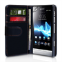 Yousave Accessories Sony Xperia P Wallet Pu Black Case