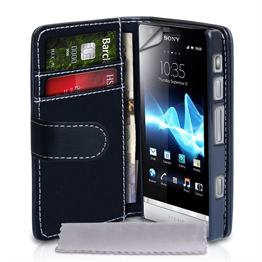 Yousave Accessories Sony Xperia P Black PU Leather Wallet